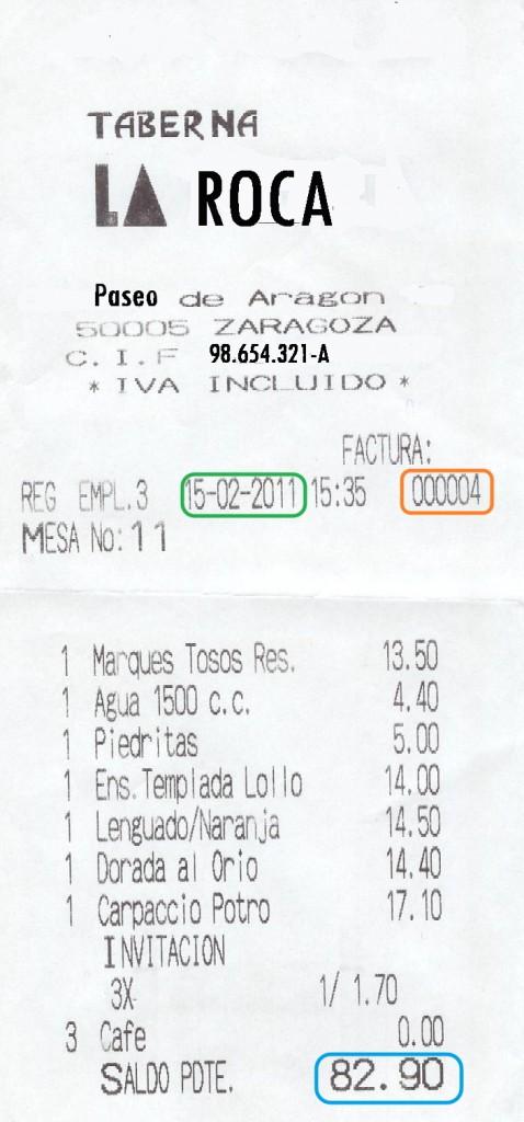 Ejemplo factura restaurante