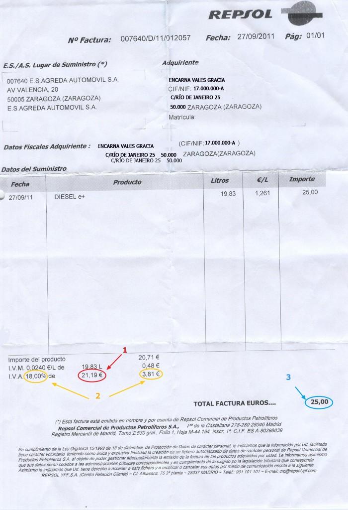 Ejemplo factura gasolina