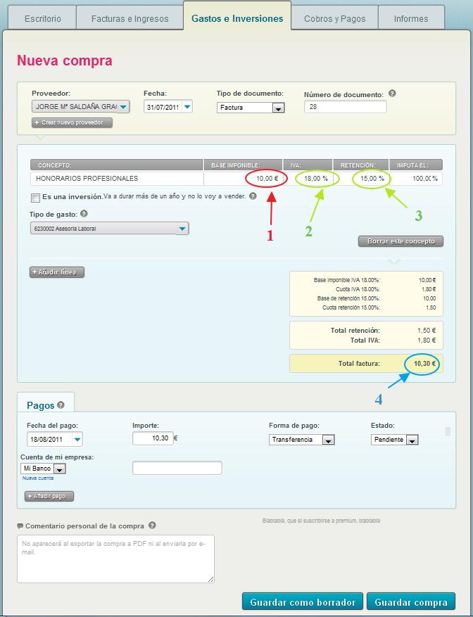 Registro con Cuéntica de una factura de un profesional