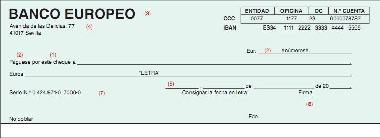 MODELO DE CHEQUE REQUISITOS Y CONTENIDO