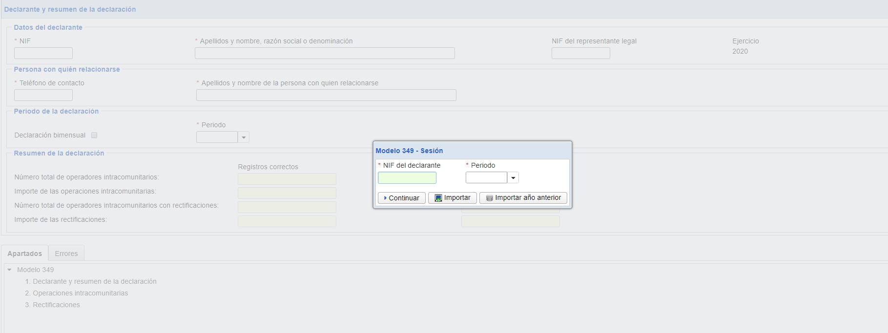Modelo 349: importar datos desde fichero