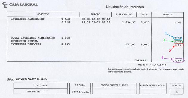 Ejemplo de liquidación de cuenta con intereses deudores y acreedores
