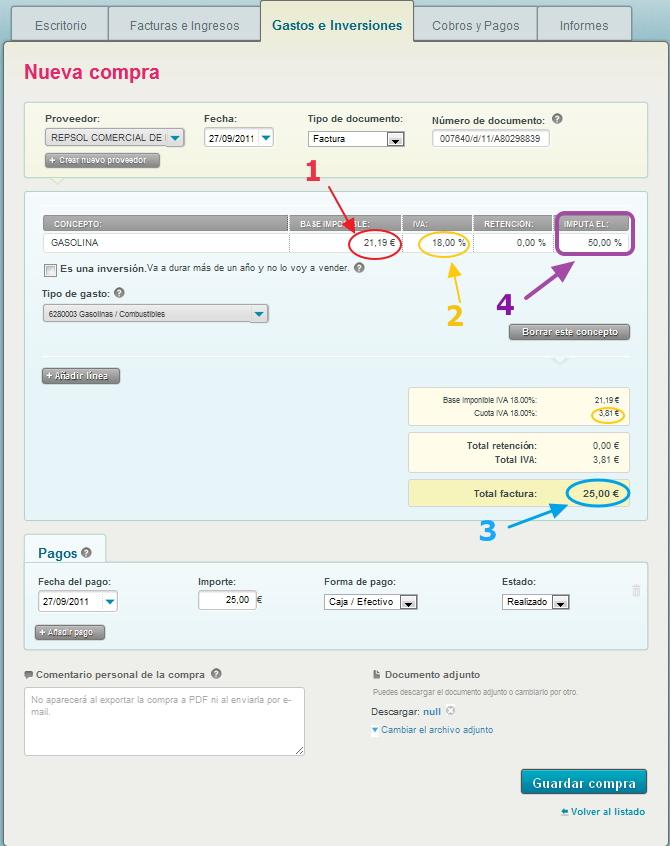 Registro con Cuentica de la factura de gasolina