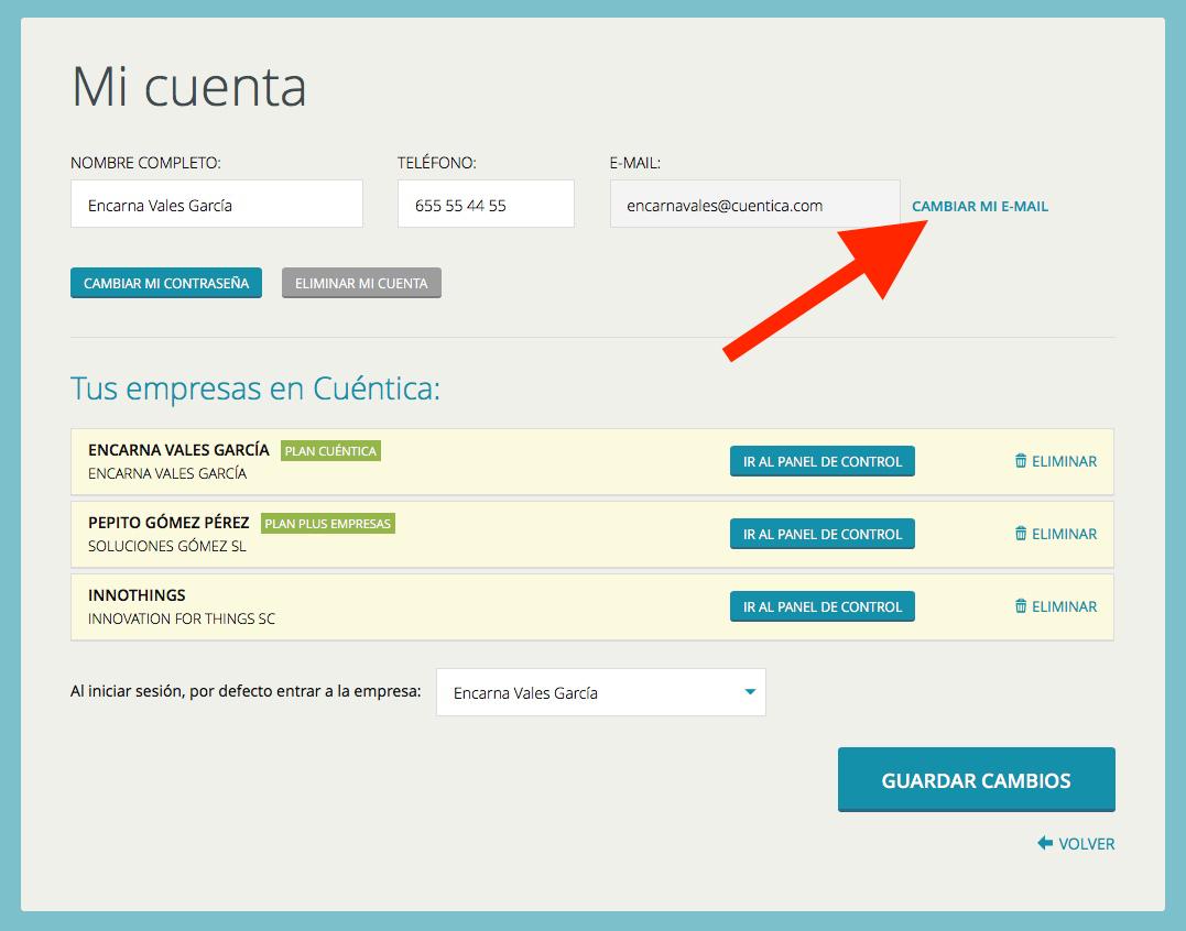 Cambiar email de usuario en Cuéntica