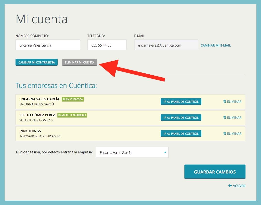 Eliminar usuario en Cuéntica