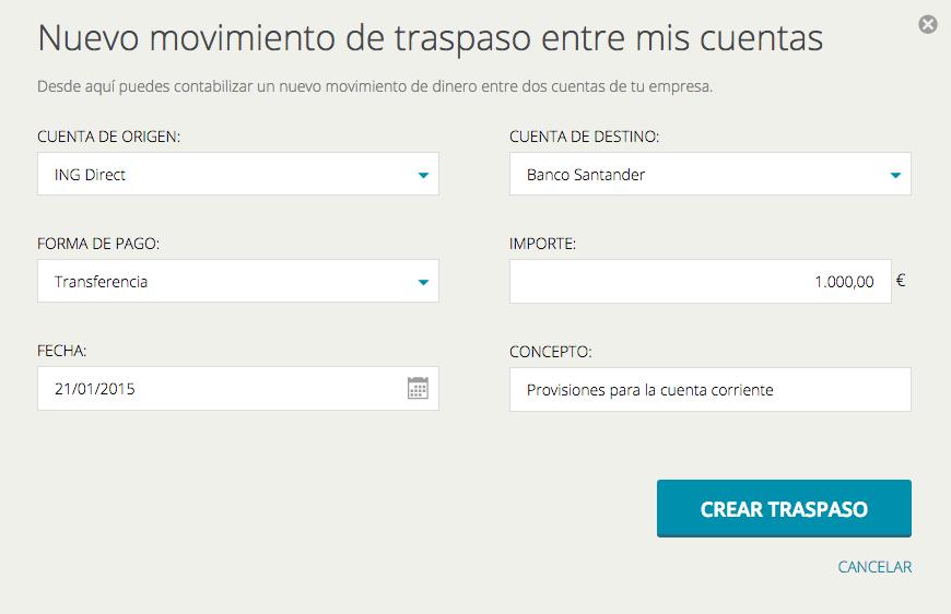 Captura de la pantalla de registro de un nuevo traspaso en Cuéntica