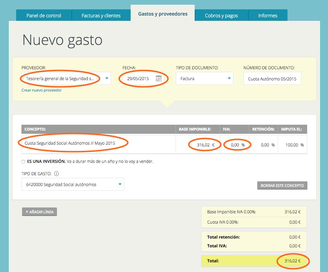 Cómo introducir la cuota de autónomo como gasto en Cuéntica