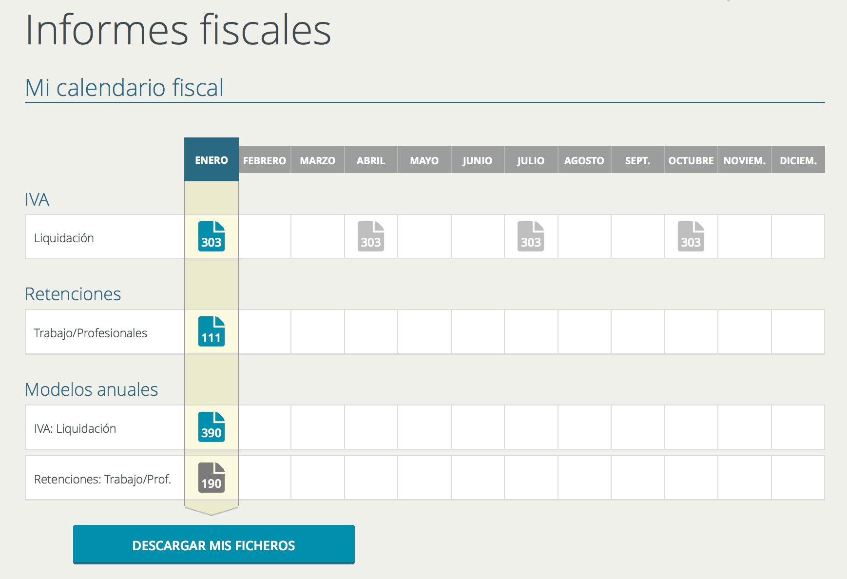 Calendario fiscal - Descarga Modelos AEAT Cuéntica