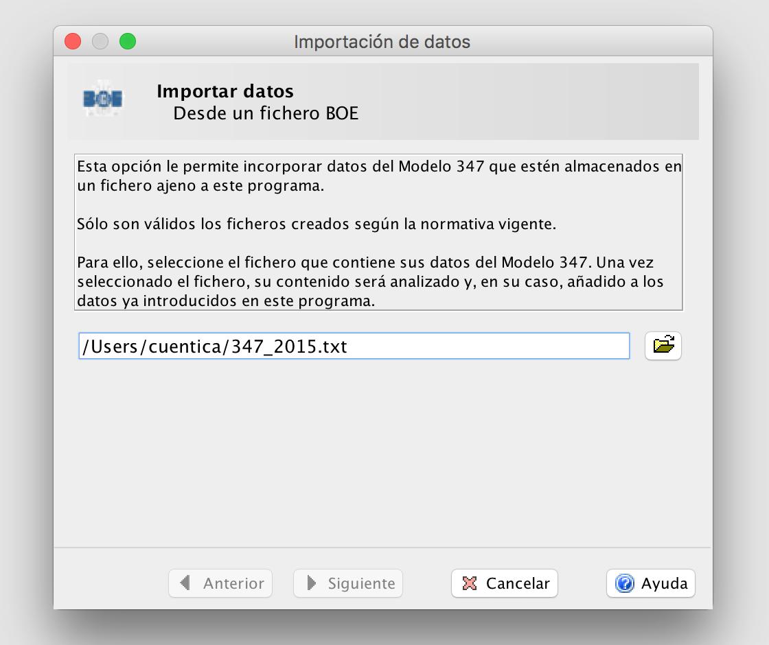 Importar fichero 347 - Programa de Informativas AEAT
