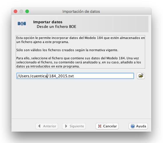 Importar fichero 184 Abrir modelo 184 - Programa Informativas AEAT