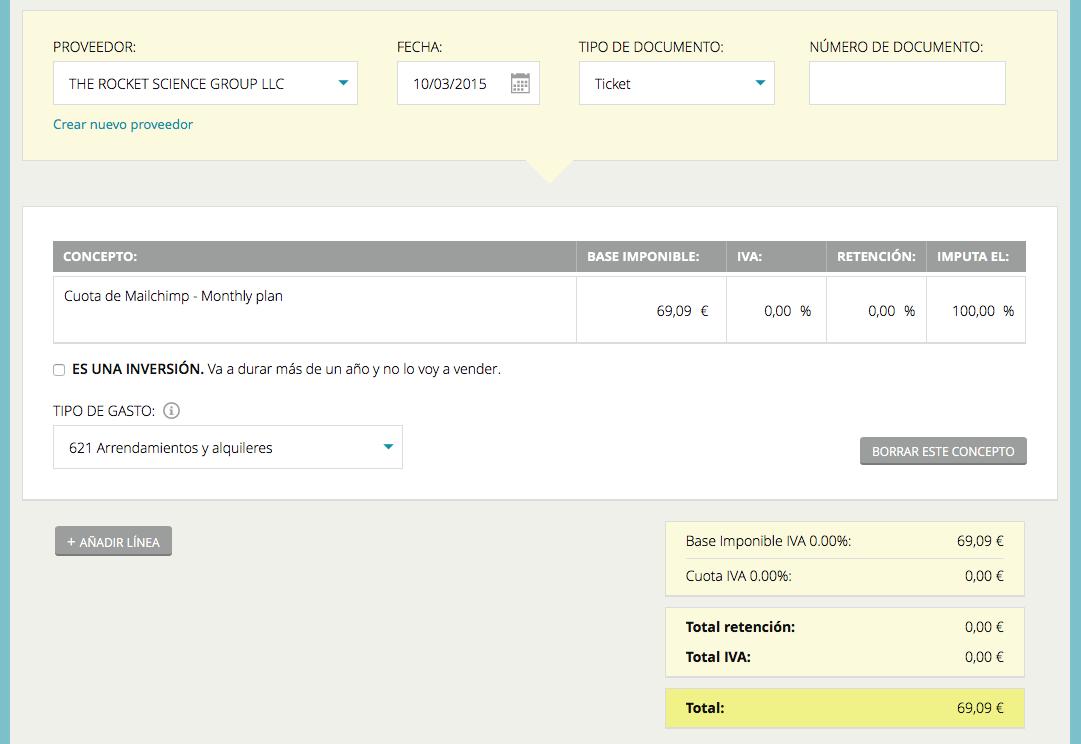Registro de gasto de Mailchimp en Cuéntica