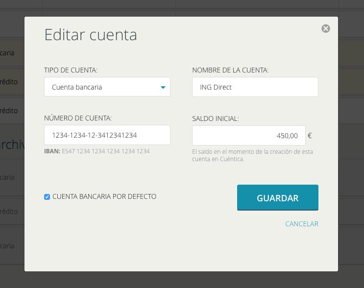 Editar los datos de una cuenta en Cuéntica