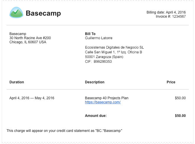 Ticket de Basecamp