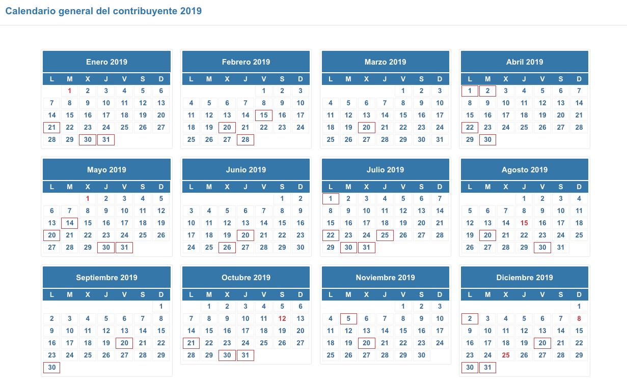 Calendario Fiscale 2019.Calendario Fiscal 2019 Autonomos Profesionales Y Empresas