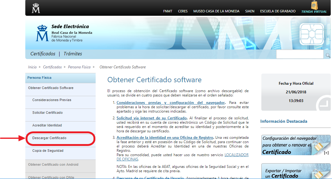 Descargar certificado digital