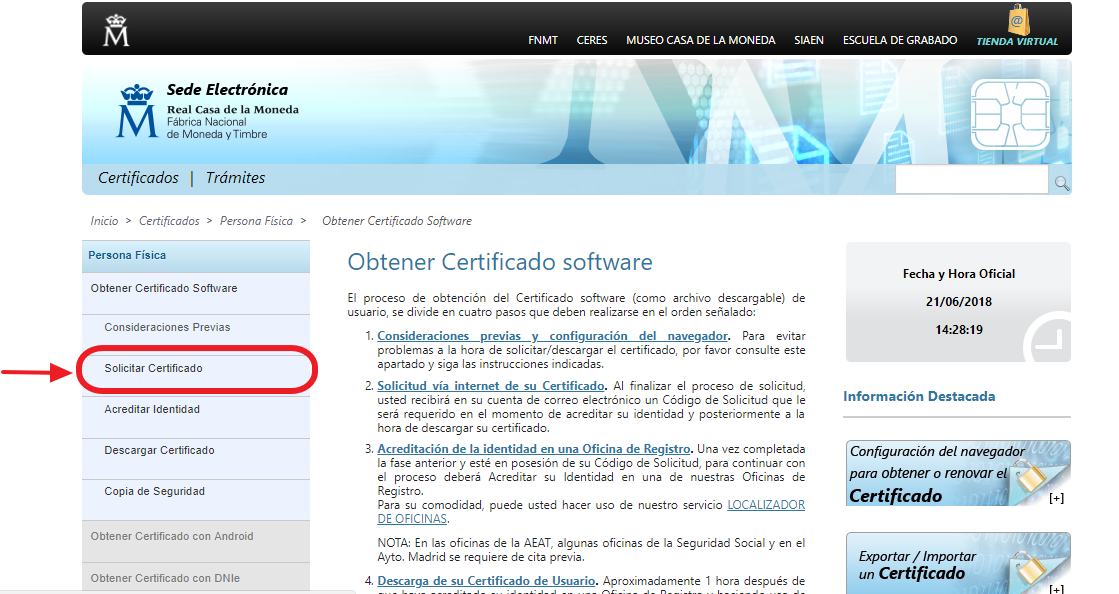 Solicitar el certificado digital