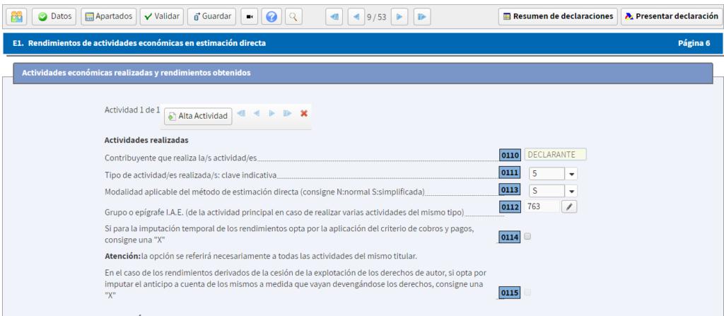Captura del bloque donde rellenar los datos para identificar la actividad como autónomo en el programa RentaWeb.