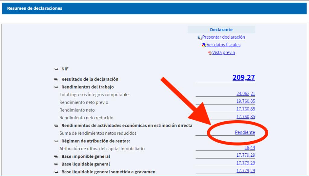 Captura de la herramienta de la AEAT donde aparece el enlace para rellenar los datos de la actividad económica como autónomo.
