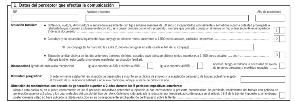 Modelo 145: datos del perceptor
