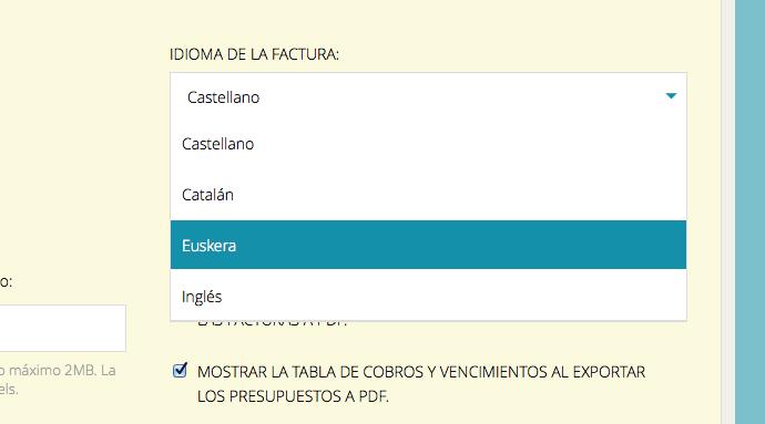 Selección de euskera para las facturas en PDF