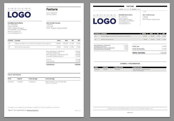 Nuevas plantillas de facturas en PDF