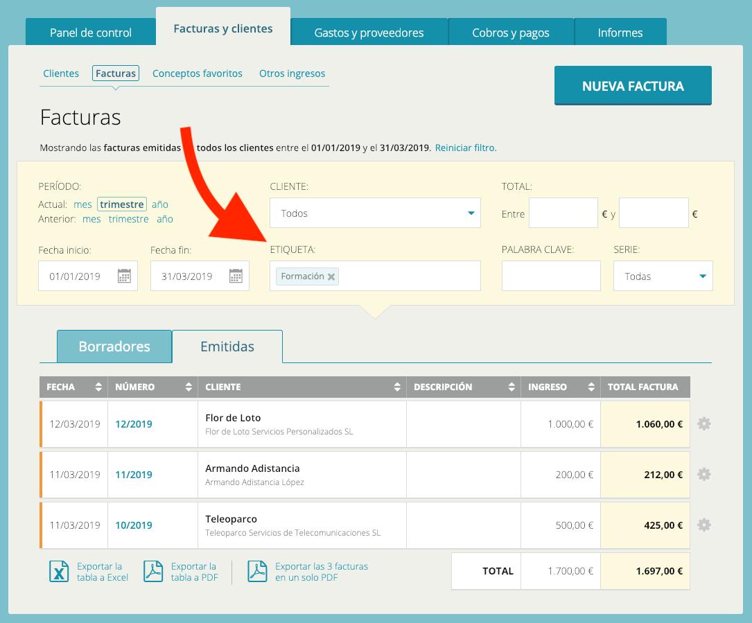 Captura de pantalla de filtro por etiquetas