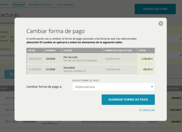 Cambiar forma de pago para la gestión del negocio en Cuéntica